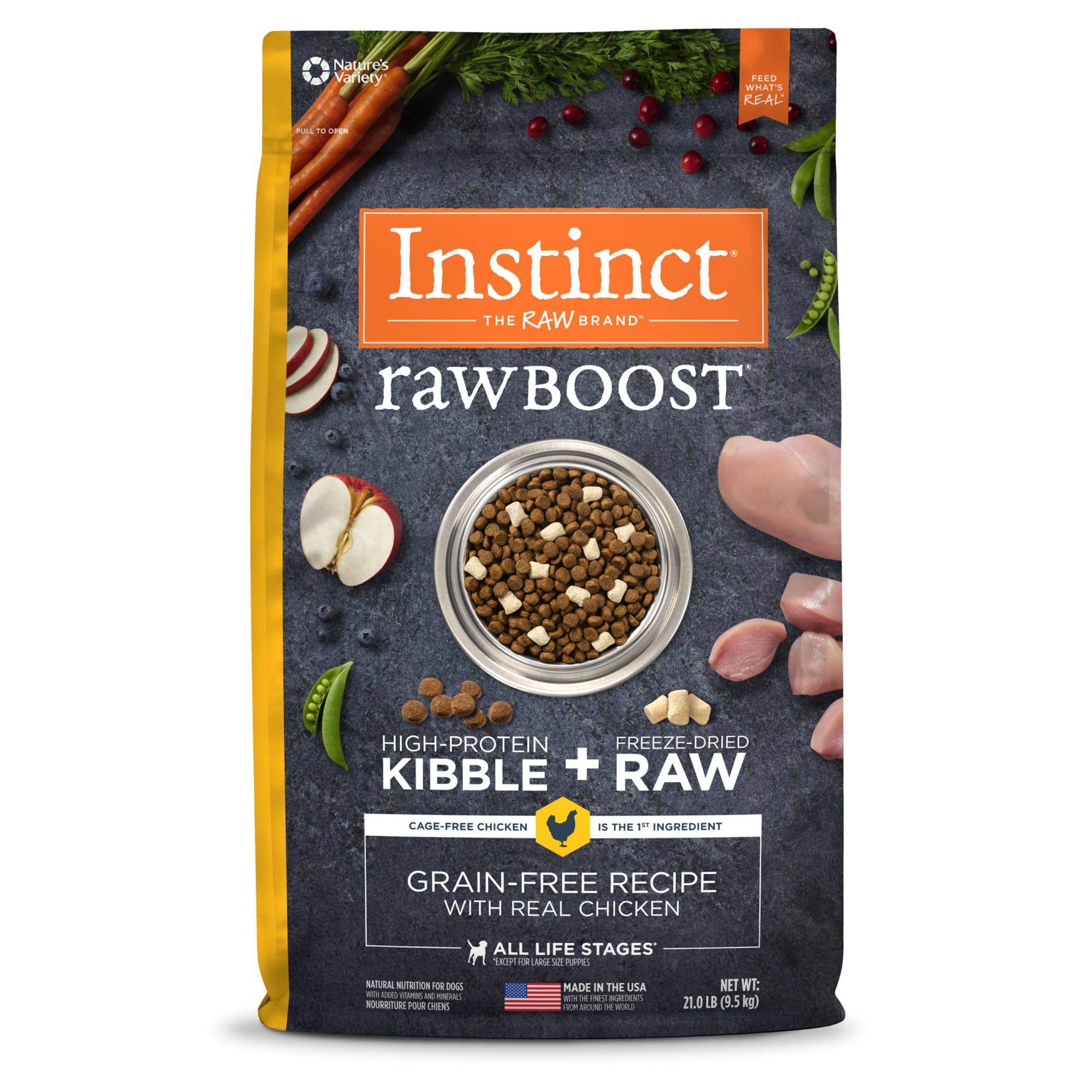 Instinct Raw Boost Grain-Free Recipe with Real Chicken Dry Dog Food with Freeze-Dried Raw Pieces