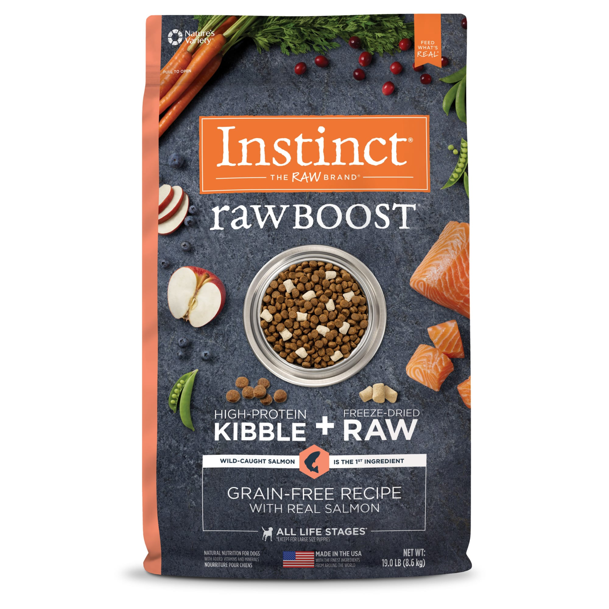 Instinct Raw Boost Grain-Free Recipe with Real Salmon Dry Dog Food with Freeze-Dried Raw Pieces