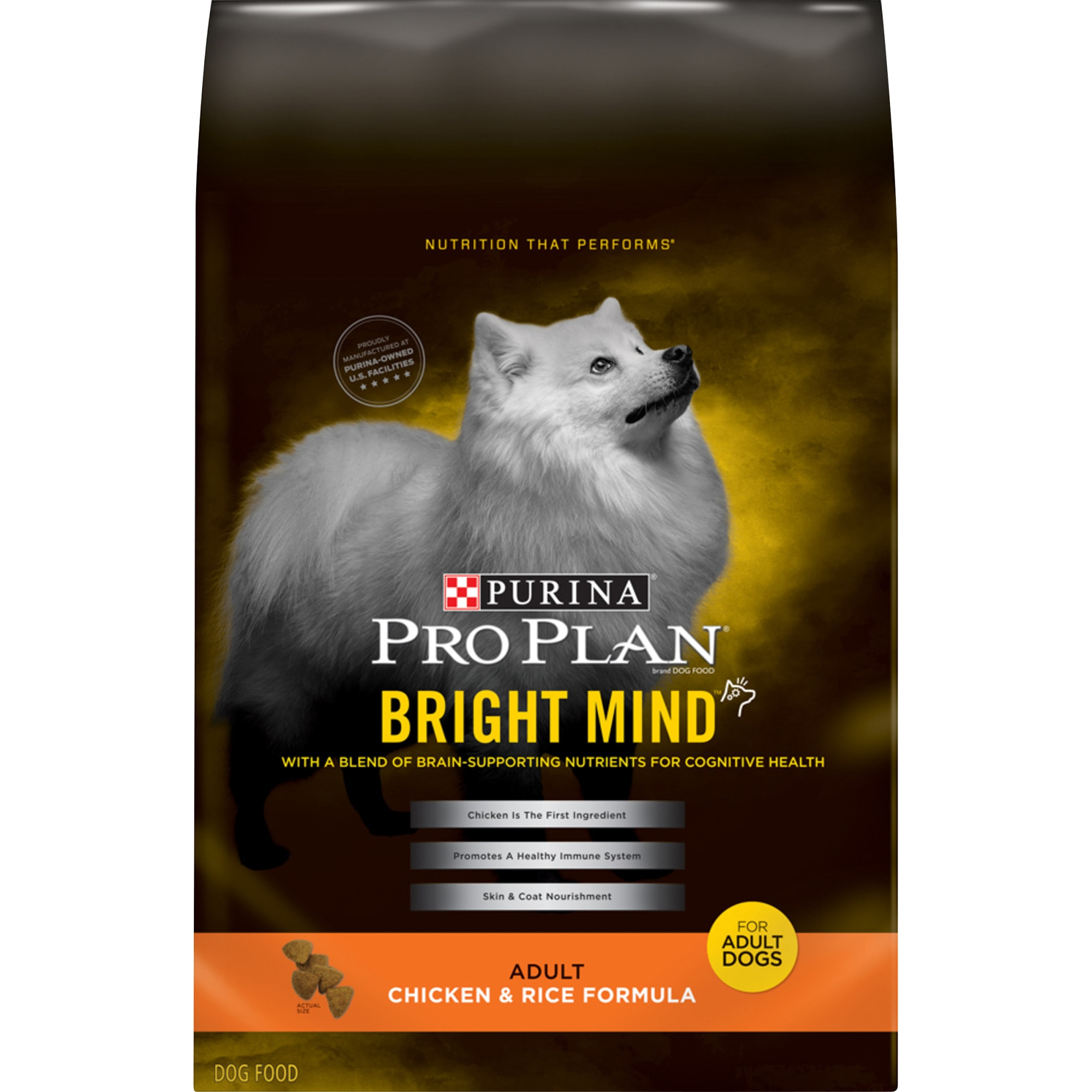Purina Pro Plan Bright Mind Chicken & Rice Formula Adult Dry Dog Food, 30 lbs.