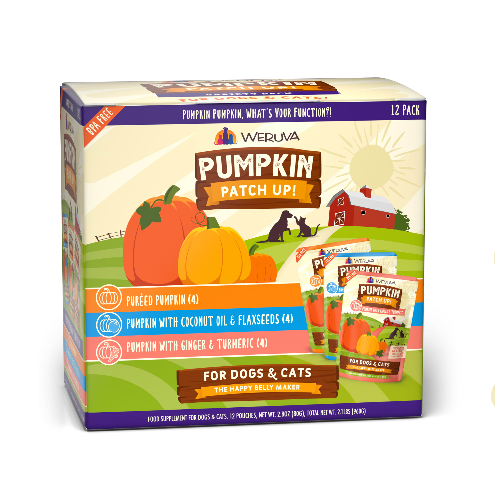 Weruva Pumpkin Patch Up! Pumpkin, Pumpkin What's Your Function?! Variety Pack Food Supplement for Dogs and Cats