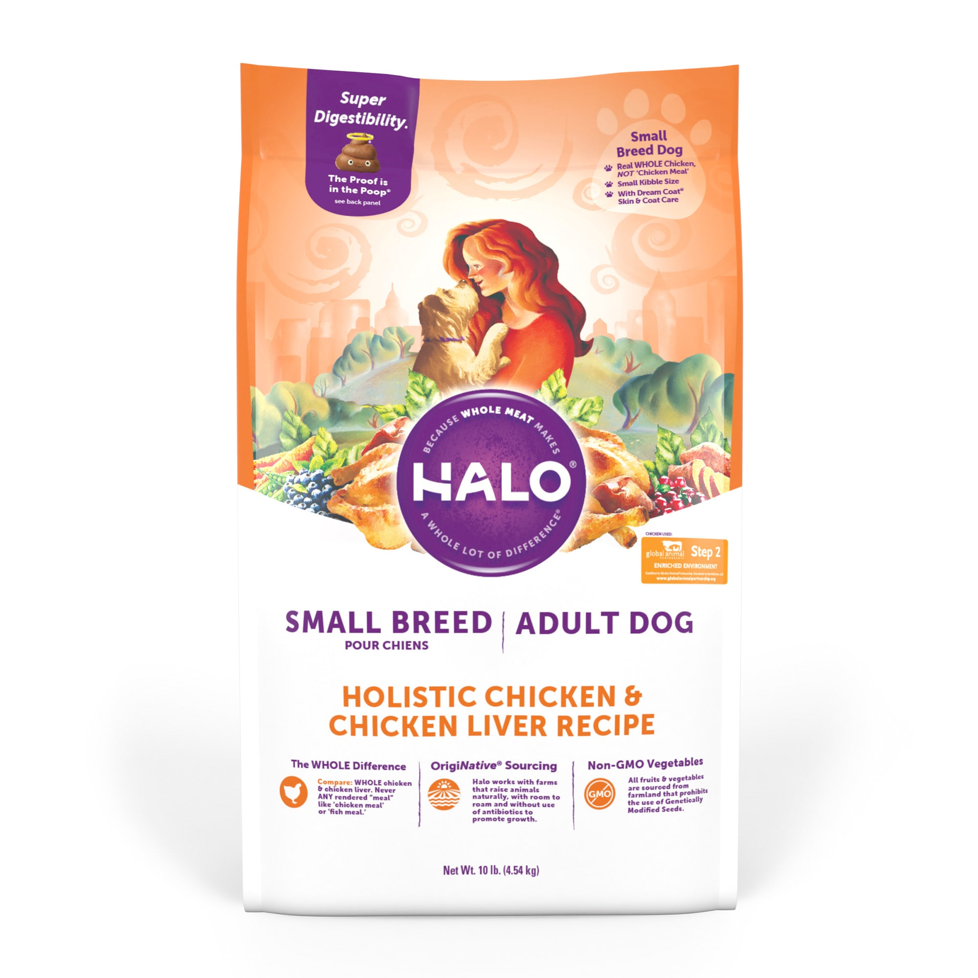 Halo Small Breed Holistic Chicken & Chicken Liver Dry Dog Food, 10 lbs.