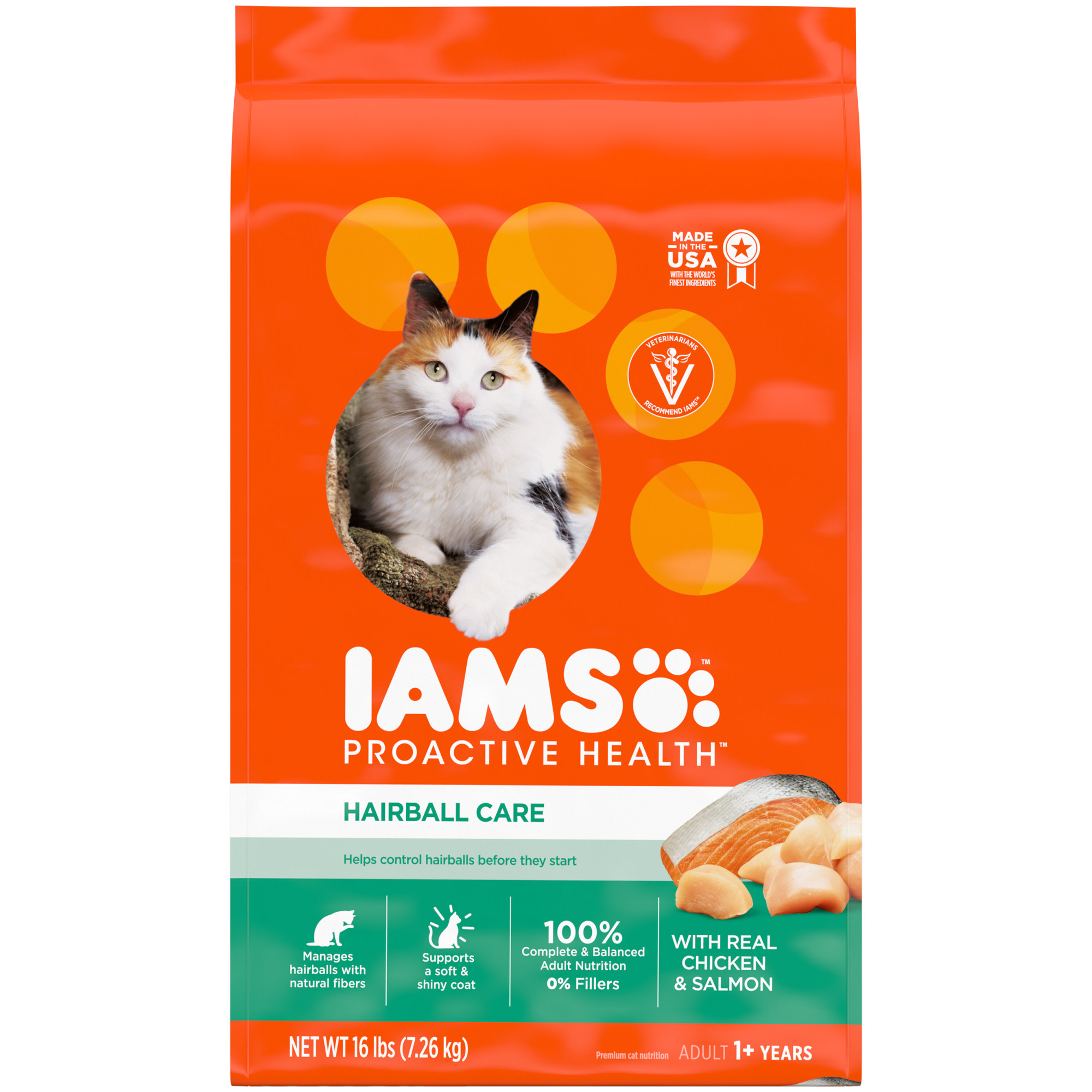 Iams ProActive Health Hairball Care Chicken and Salmon Adult Dry Cat Food, 16 lbs.