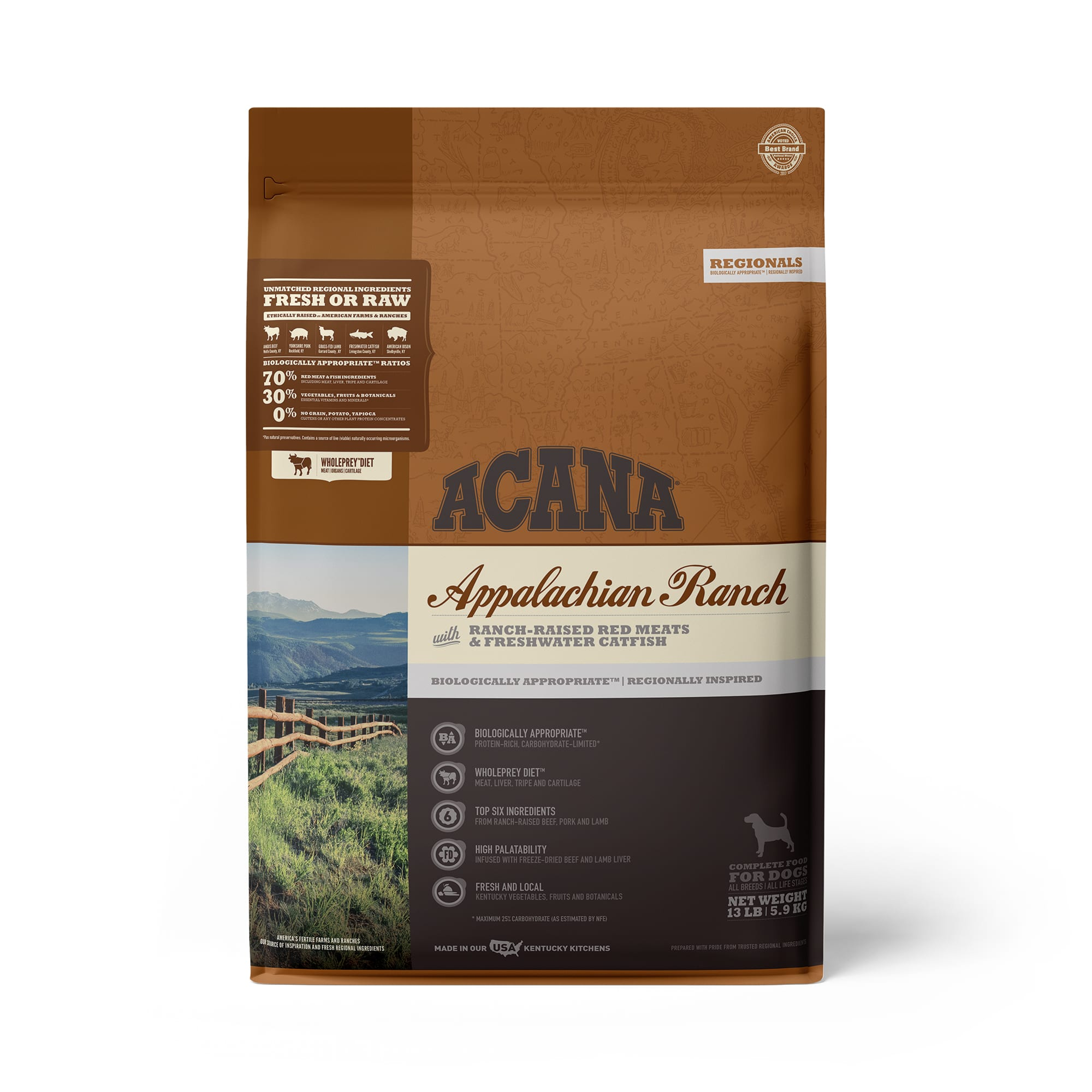 ACANA Appalachian Ranch Grain Free High Protein Freeze-Dried Coated Beef Pork Lamb Bison and Fish Dry Dog Food, 13 lbs.