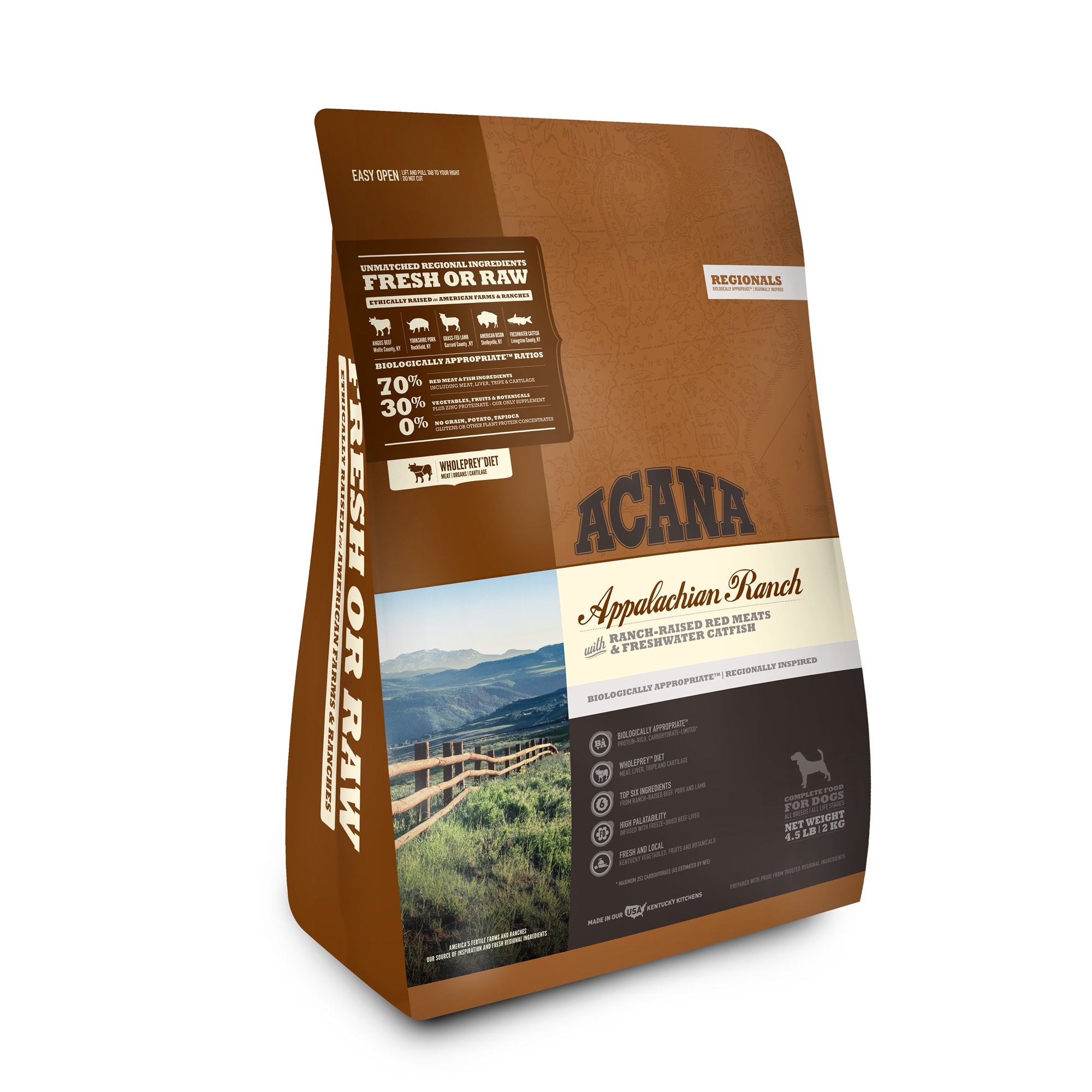 ACANA Appalachian Ranch Grain Free High Protein Freeze-Dried Coated Beef Pork Lamb Bison and Fish Dry Dog Food, 4.5 lbs.