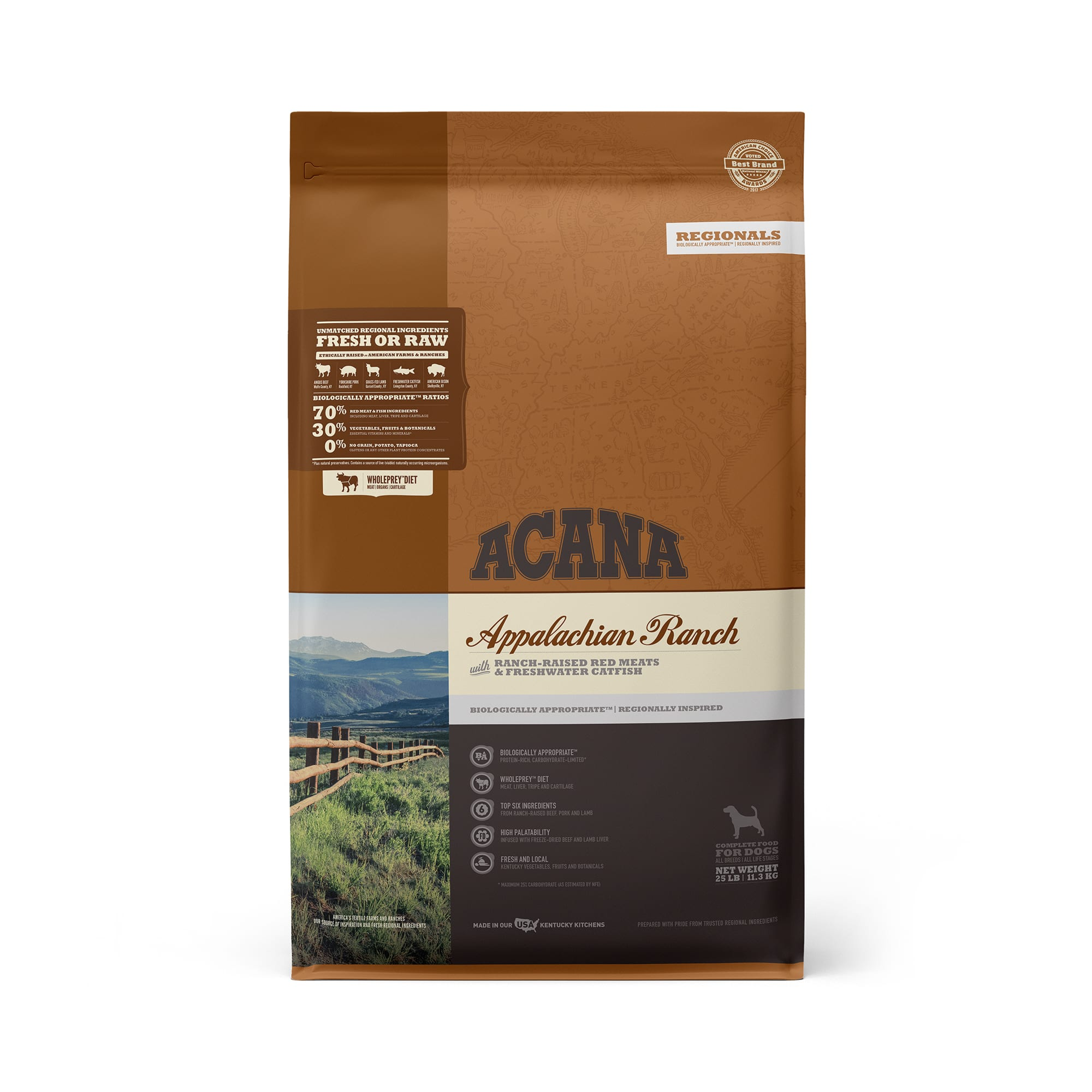 ACANA Appalachian Ranch Grain Free High Protein Freeze-Dried Coated Beef Pork Lamb Bison and Fish Dry Dog Food