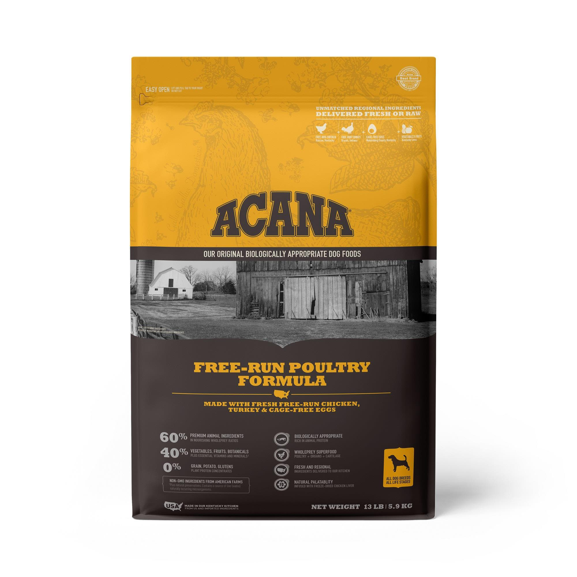 ACANA Grain-Free Free Run Poultry Chicken and Turkey and Cage-free Eggs Dry Dog Food, 13 lbs.