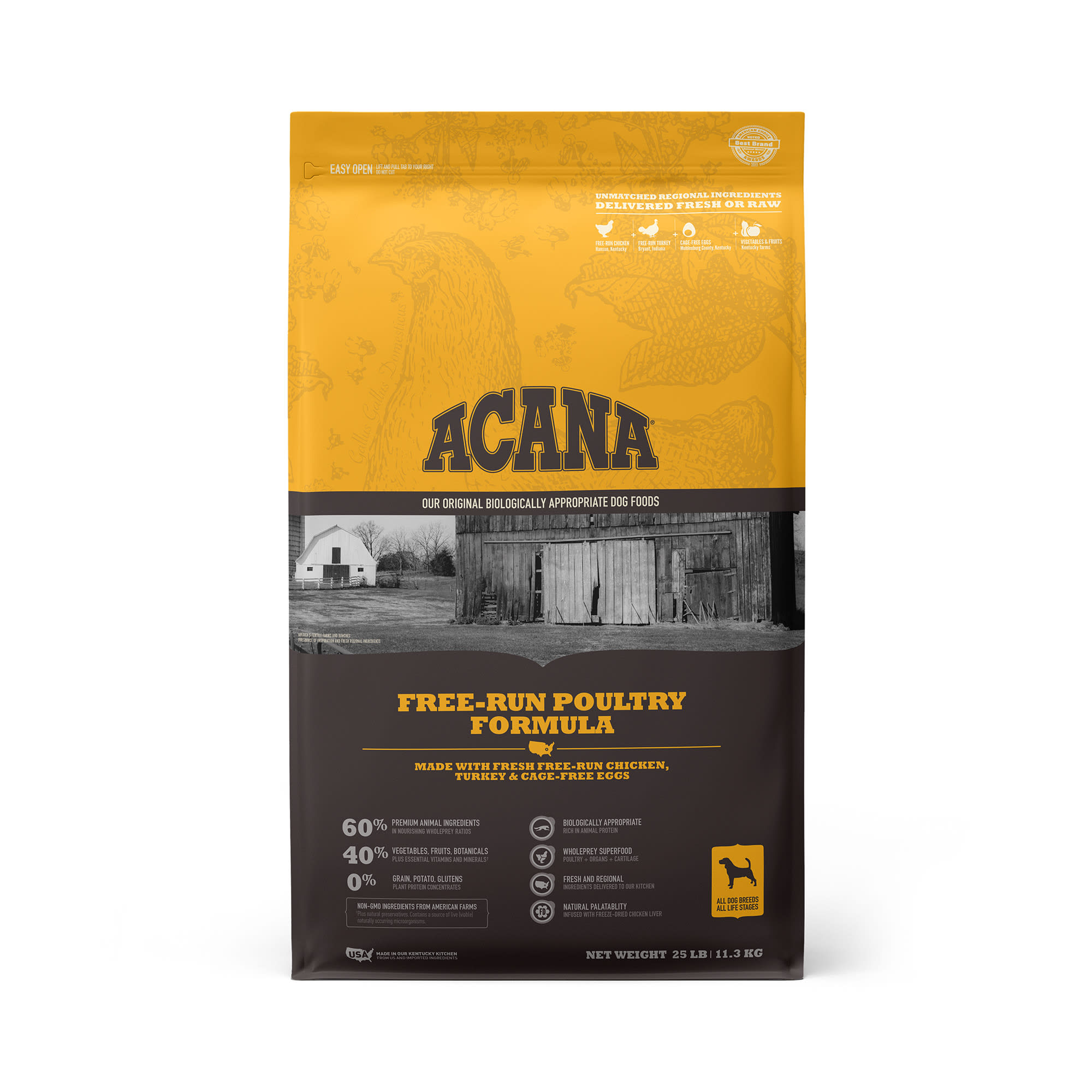 ACANA Grain-Free Free Run Poultry Chicken and Turkey and Cage-free Eggs Dry Dog Food, 25 lbs.