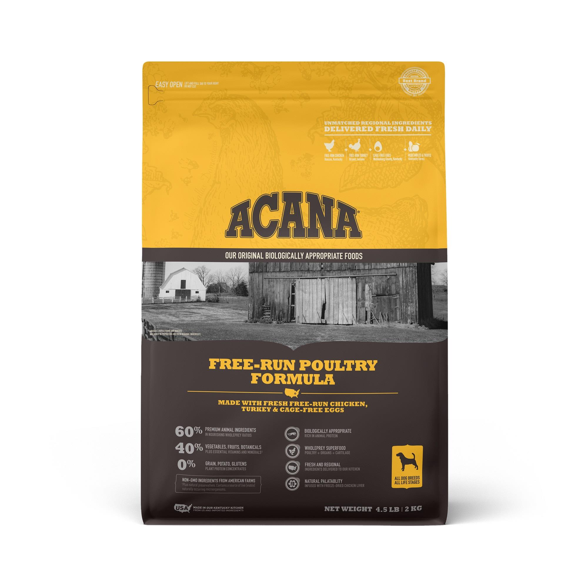 ACANA Grain-Free Free Run Poultry Chicken and Turkey and Cage-free Eggs Dry Dog Food, 4.5 lbs.