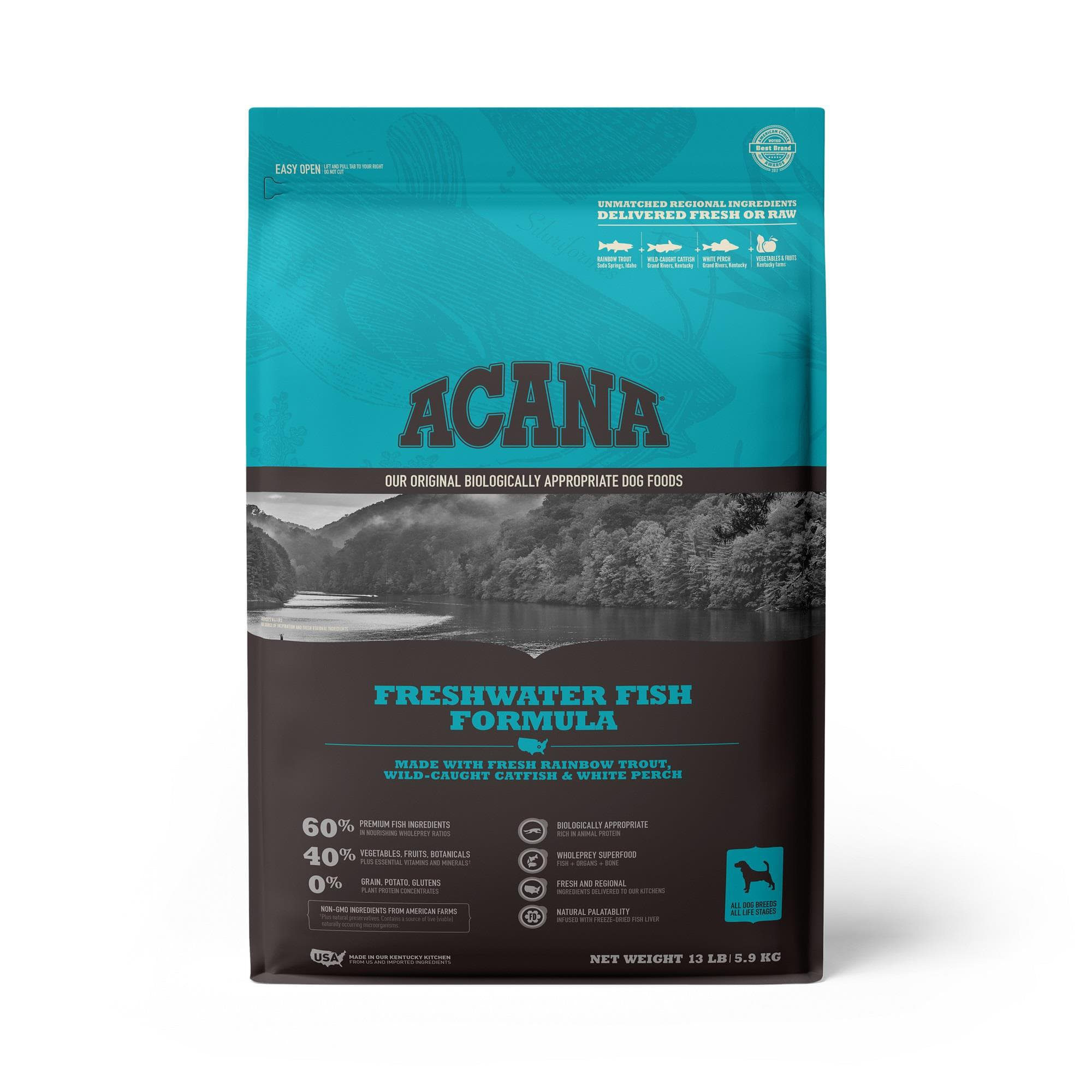 ACANA Grain-Free Freshwater Fish Whole Trout Catfish and Perch Dry Dog Food, 13 lbs.