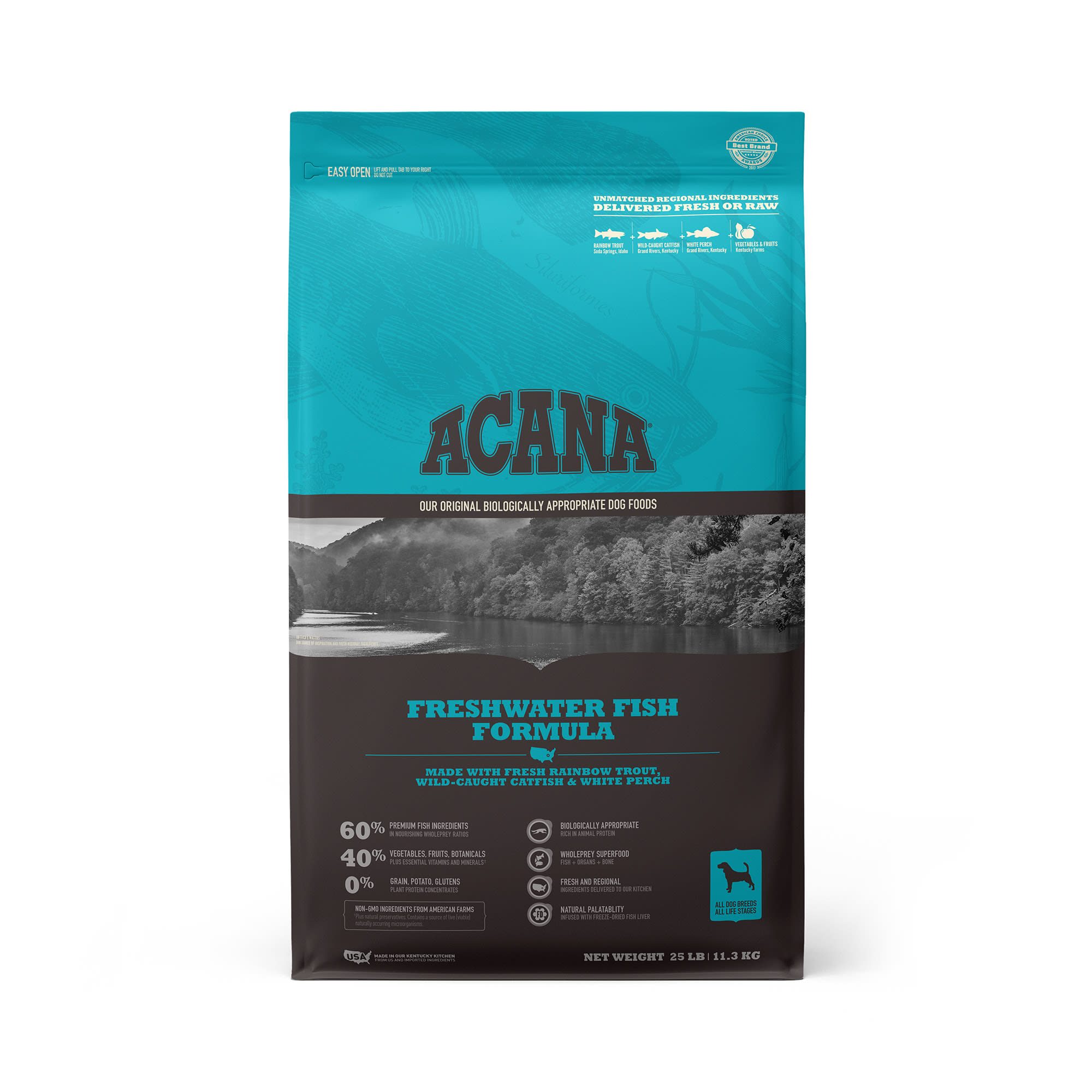 ACANA Grain-Free Freshwater Fish Whole Trout Catfish and Perch Dry Dog Food, 25 lbs.