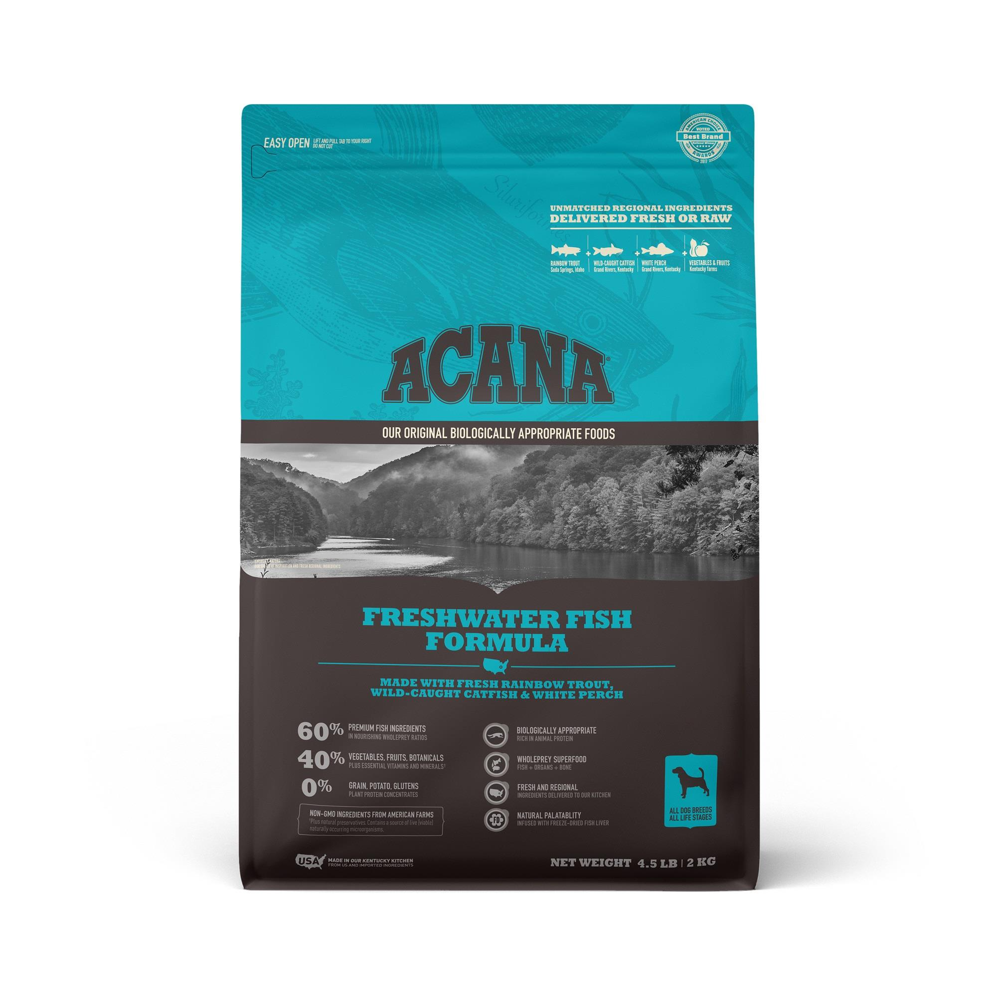 ACANA Grain-Free Freshwater Fish Whole Trout Catfish and Perch Dry Dog Food, 4.5 lbs.