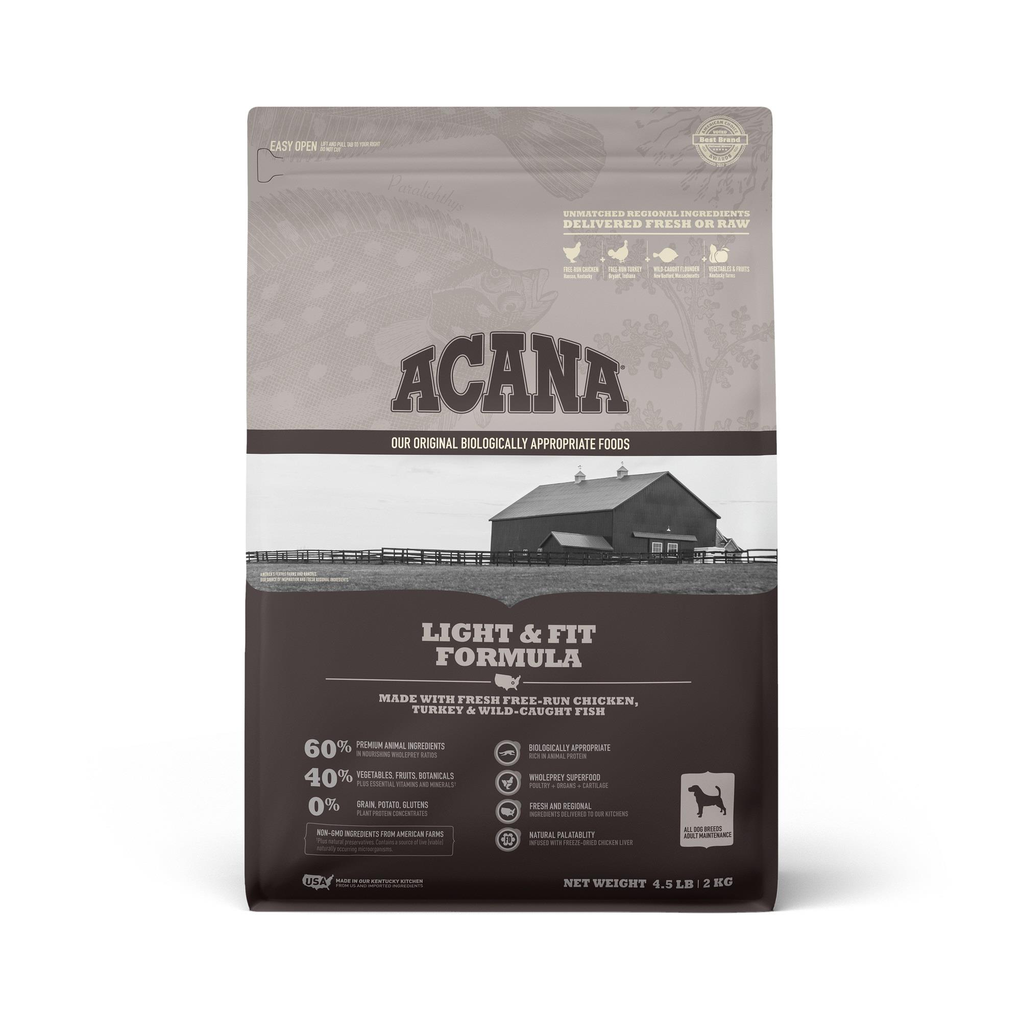ACANA Grain-Free Light & Fit Chicken to support Healthy Weight Adult Dry Dog Food, 4.5 lbs.