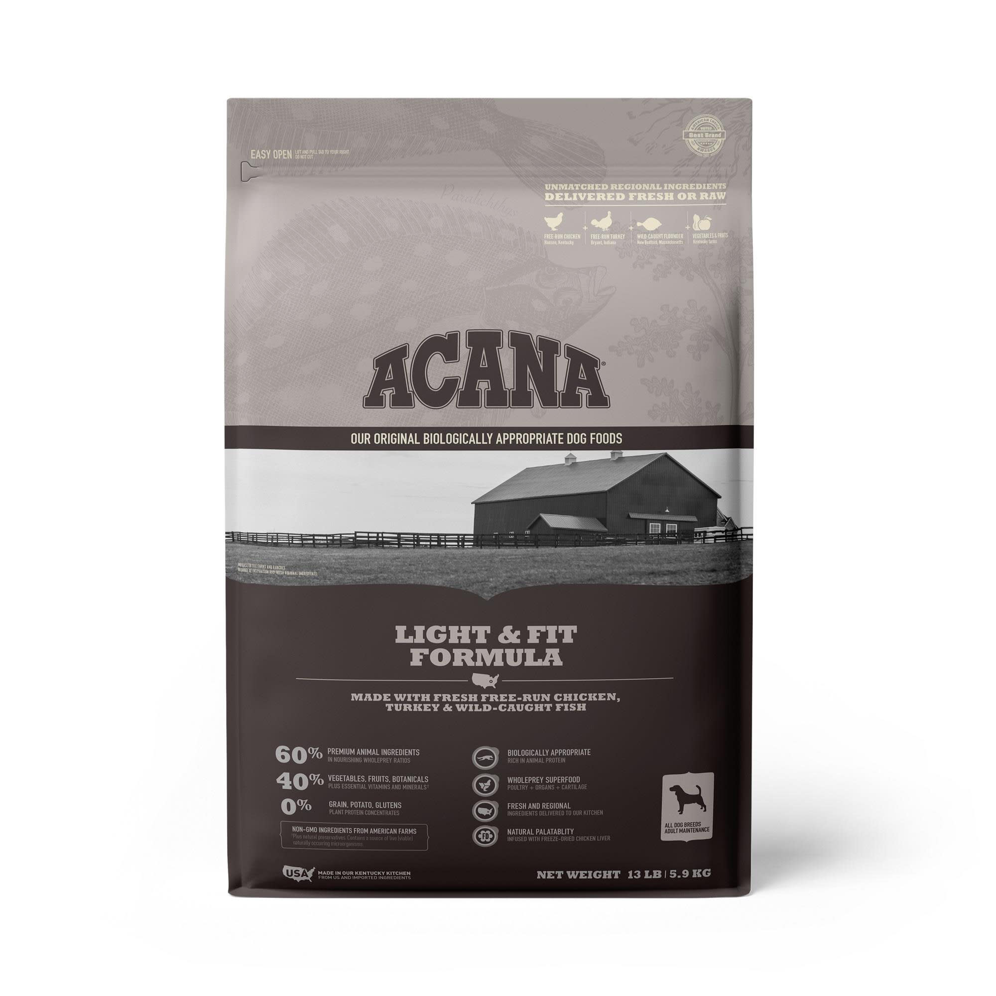 ACANA Grain-Free Light & Fit to support Healthy Weight Adult Dry Dog Food, 13 lbs.