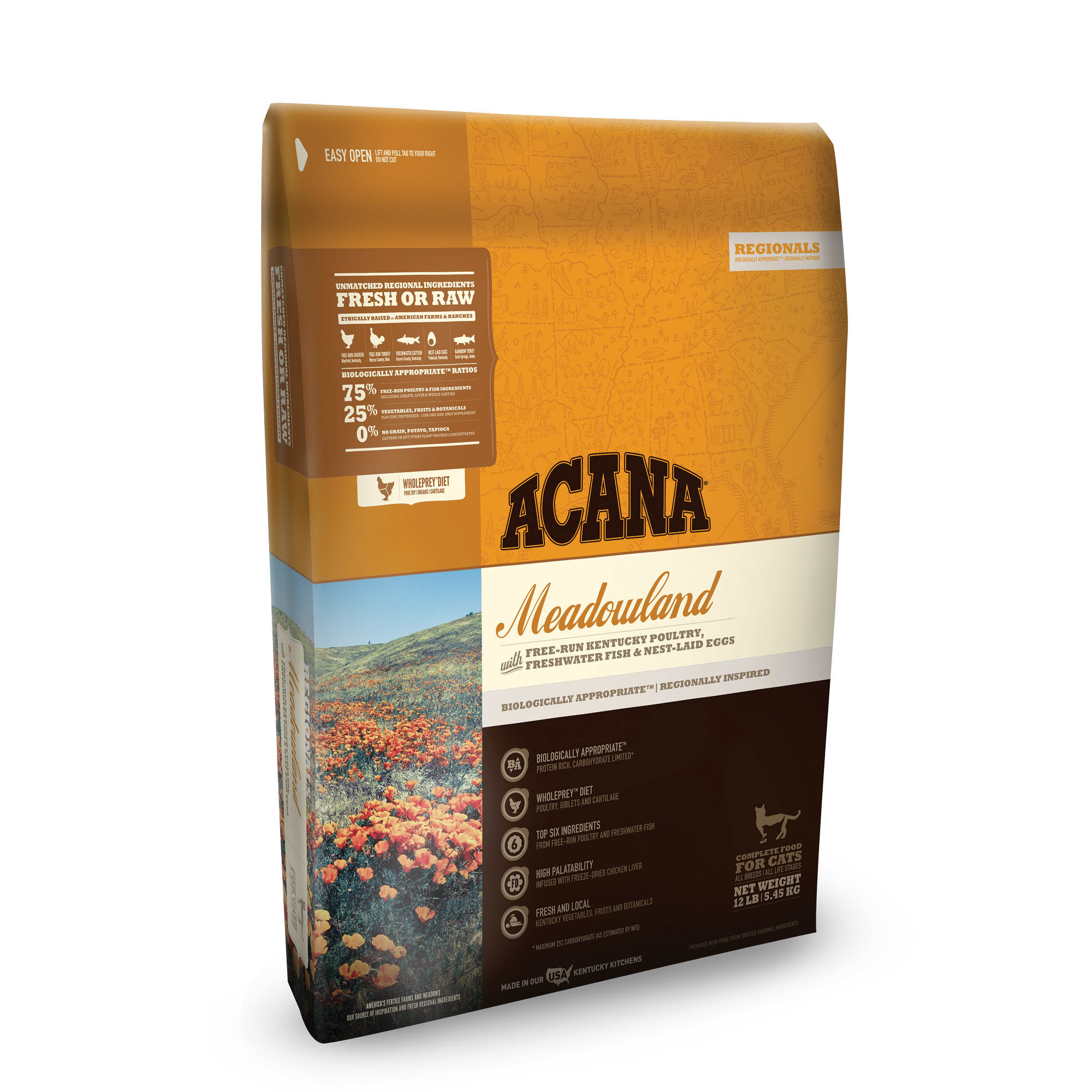 ACANA Grain-Free Meadowlands Chicken Turkey Fish and Cage-Free Eggs Dry Cat Food
