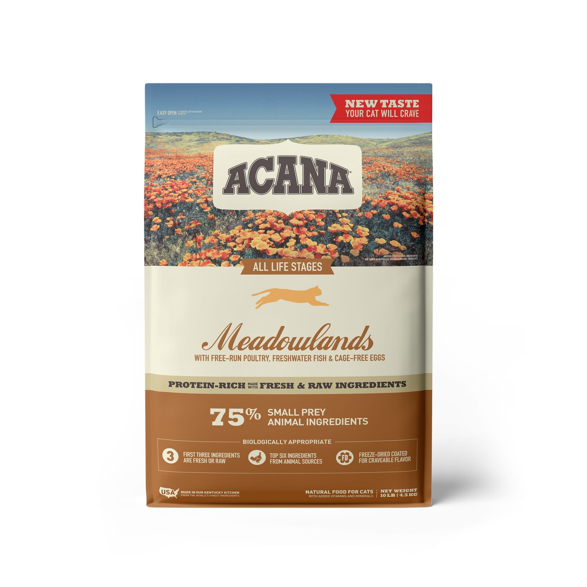 ACANA Grain-Free Meadowlands Chicken Turkey Fish and Cage-Free Eggs Dry Cat Food, 10 lbs.