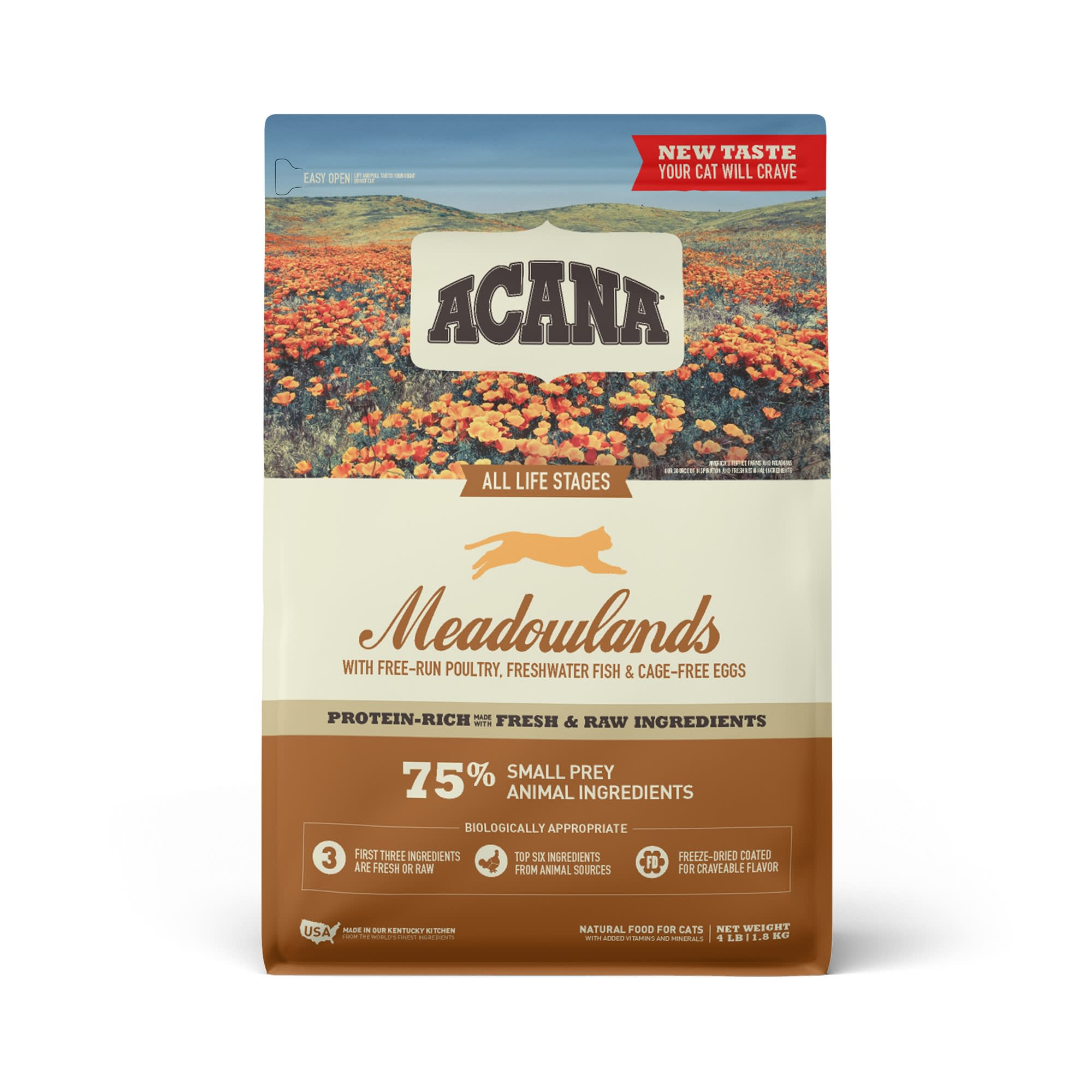 ACANA Grain-Free Meadowlands Chicken Turkey Fish and Cage-Free Eggs Dry Cat Food, 4 lbs.