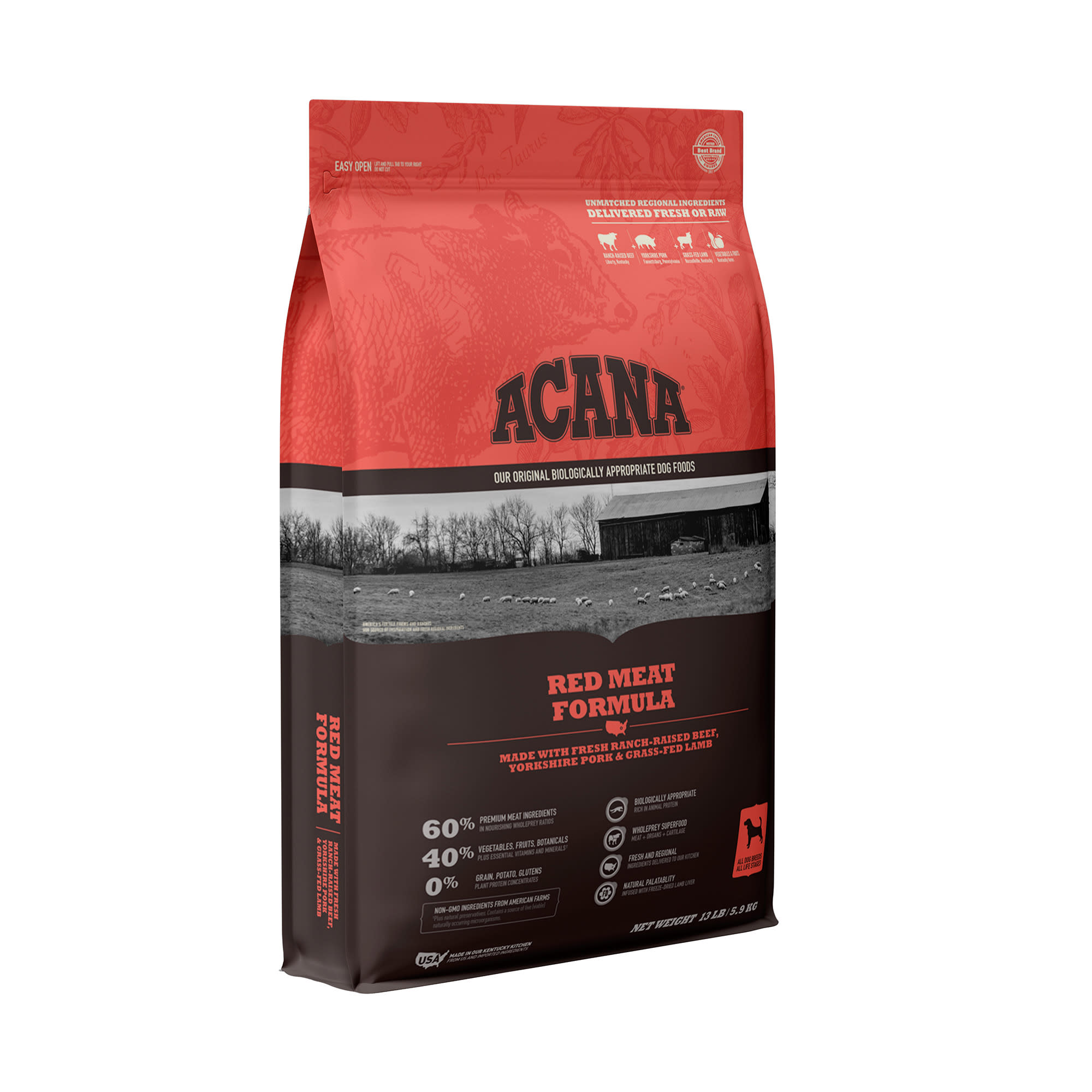 ACANA Grain-Free Red Meat Ranch-Raised Beef Yorkshire Pork Grass-Fed Lamb Dry Dog Food, 13 lbs.