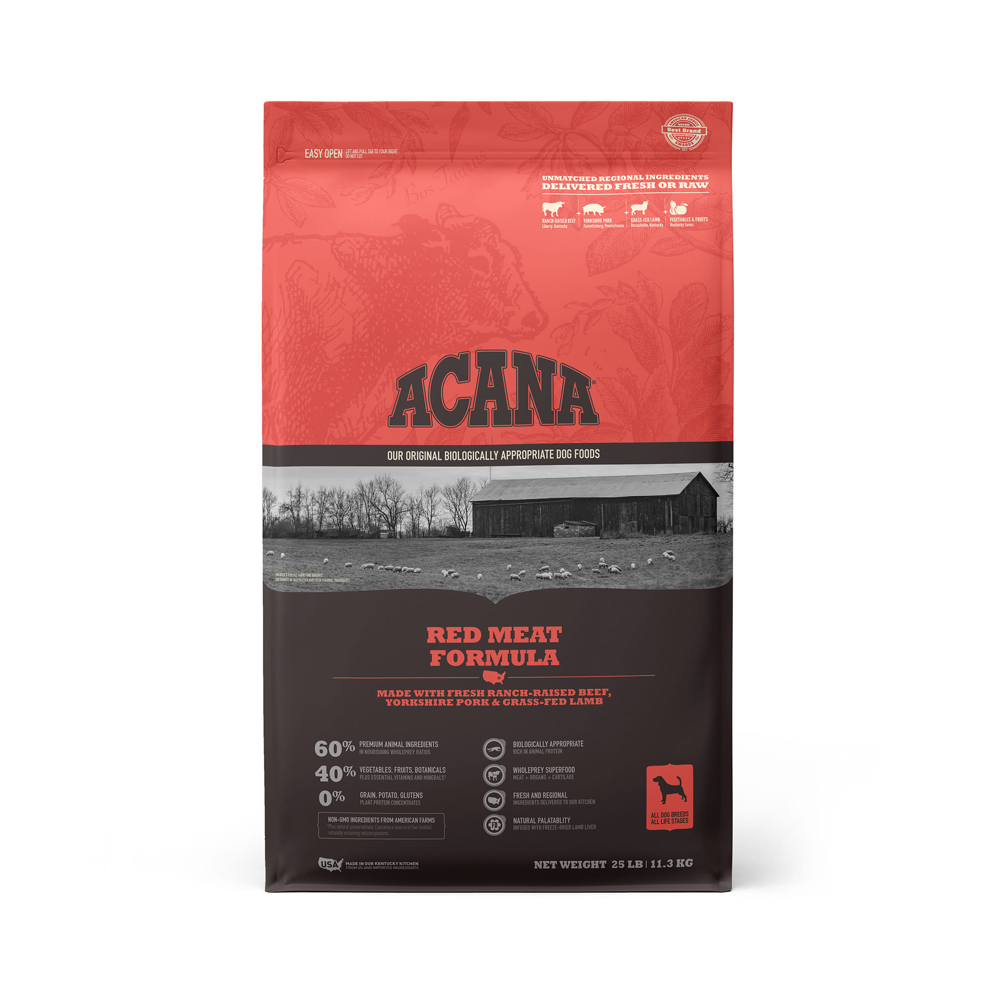 ACANA Grain-Free Red Meat Ranch-Raised Beef Yorkshire Pork Grass-Fed Lamb Dry Dog Food, 25 lbs.
