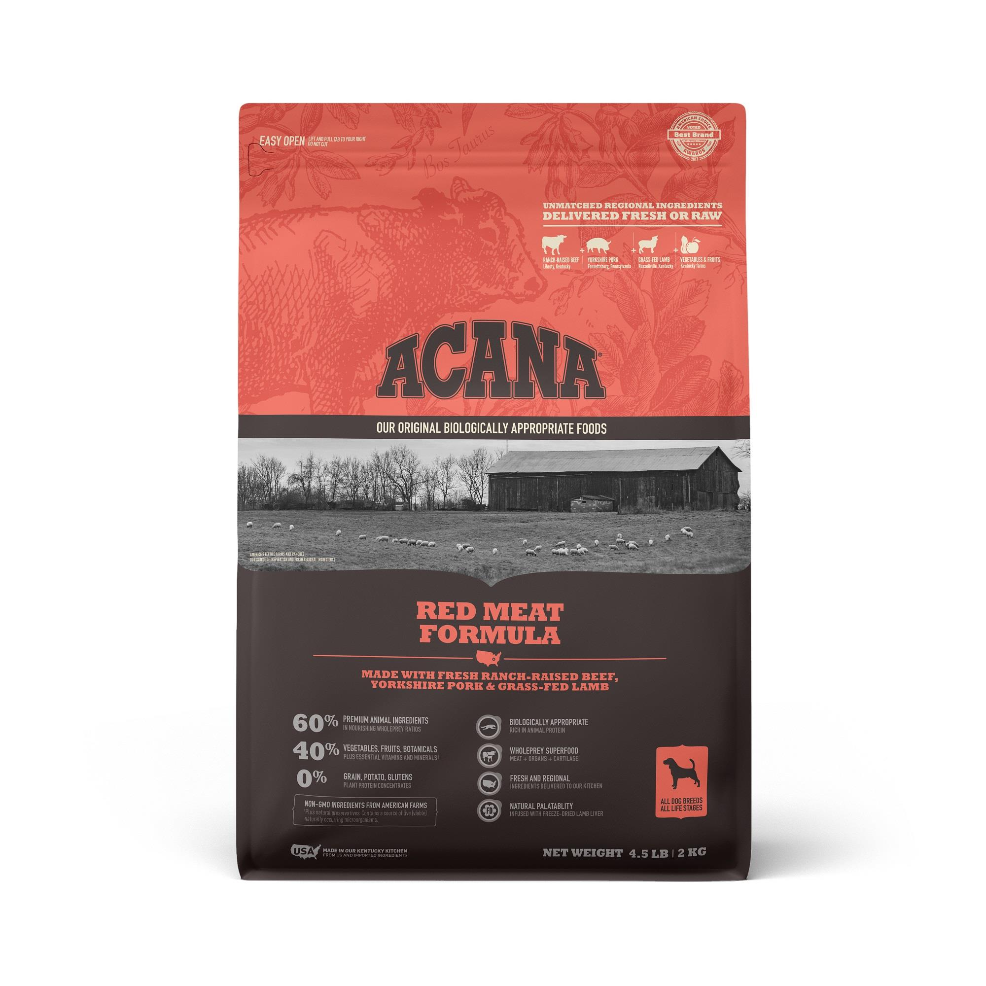 ACANA Grain-Free Red Meat Ranch-Raised Beef Yorkshire Pork Grass-Fed Lamb Dry Dog Food, 4.5 lbs.