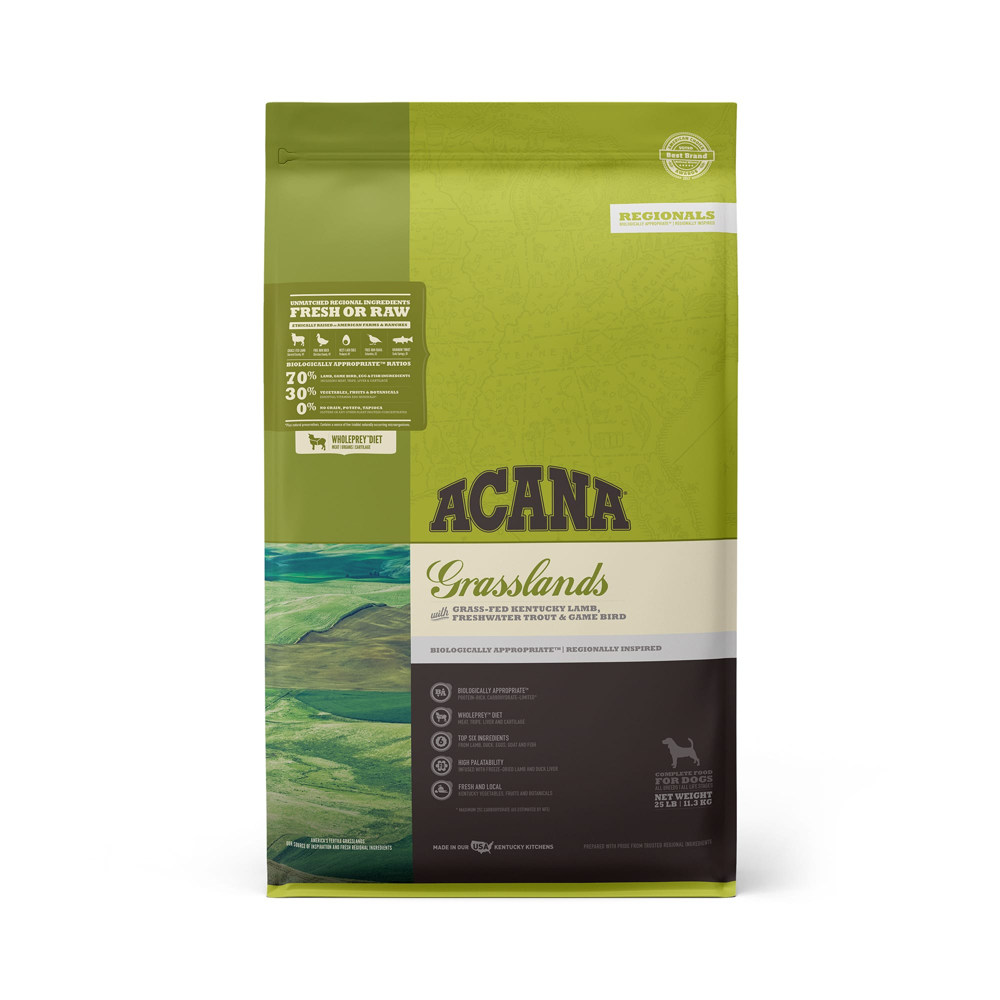 ACANA Grasslands Grain Free High Protein Freeze-Dried Coated Lamb Duck Trout and Quail Dry Dog Food, 25 lbs.