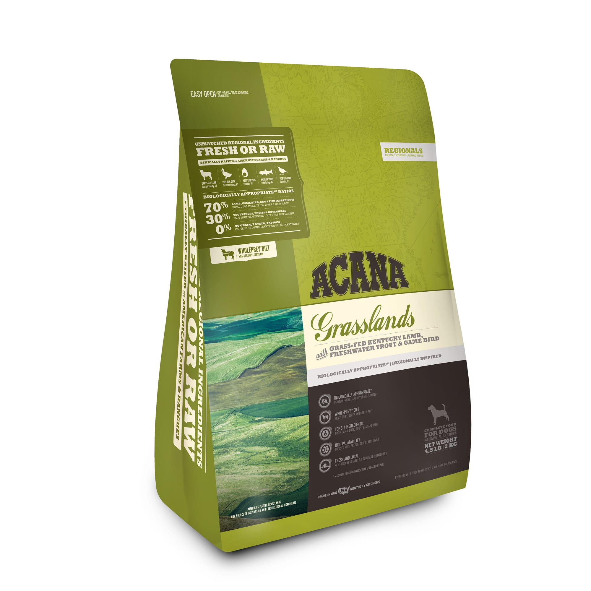 ACANA Grasslands Grain Free High Protein Freeze-Dried Coated Lamb Duck Trout and Quail Dry Dog Food, 4.5 lbs.
