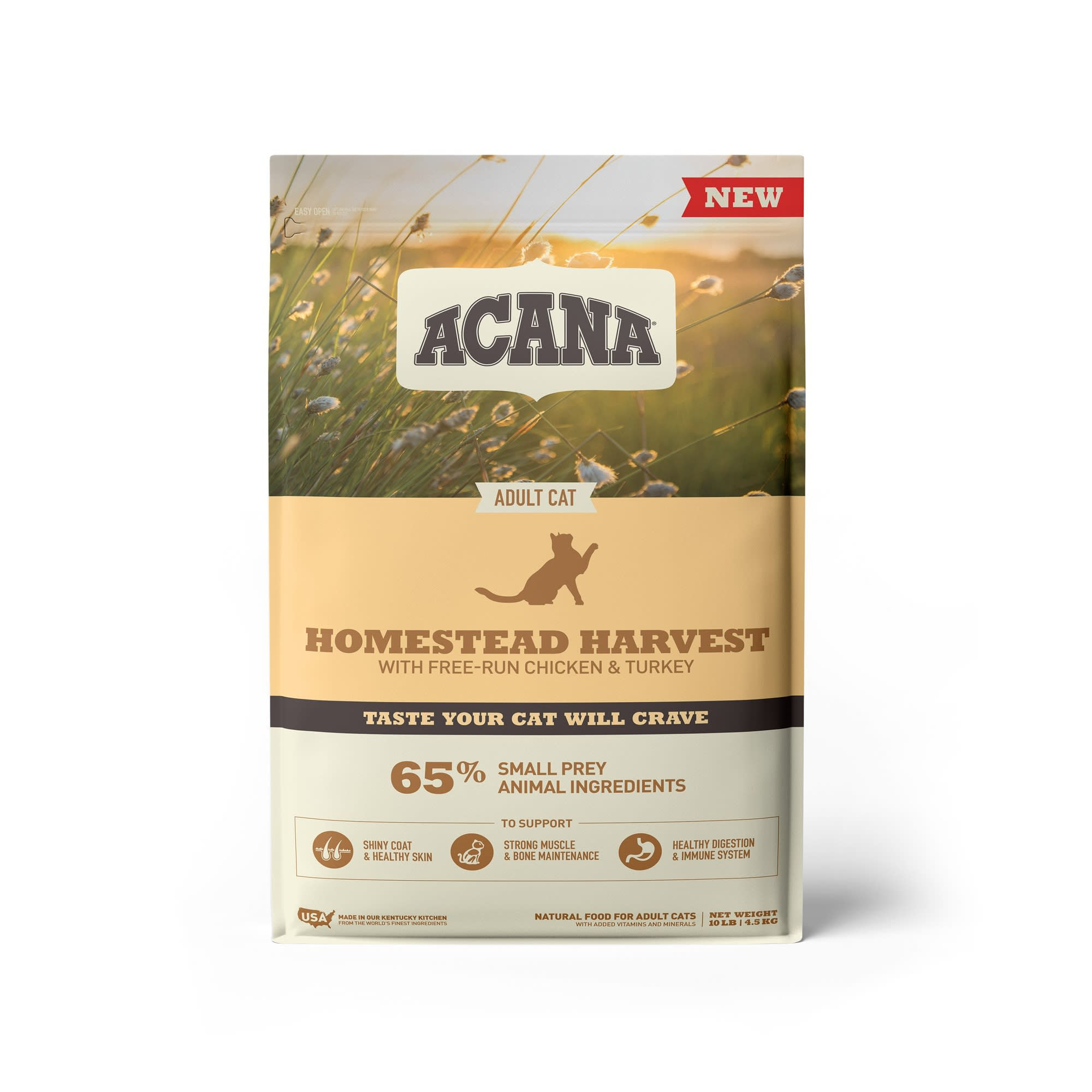 ACANA Homestead Harvest Chicken Turkey and Duck Dry Cat Food, 10 lbs.