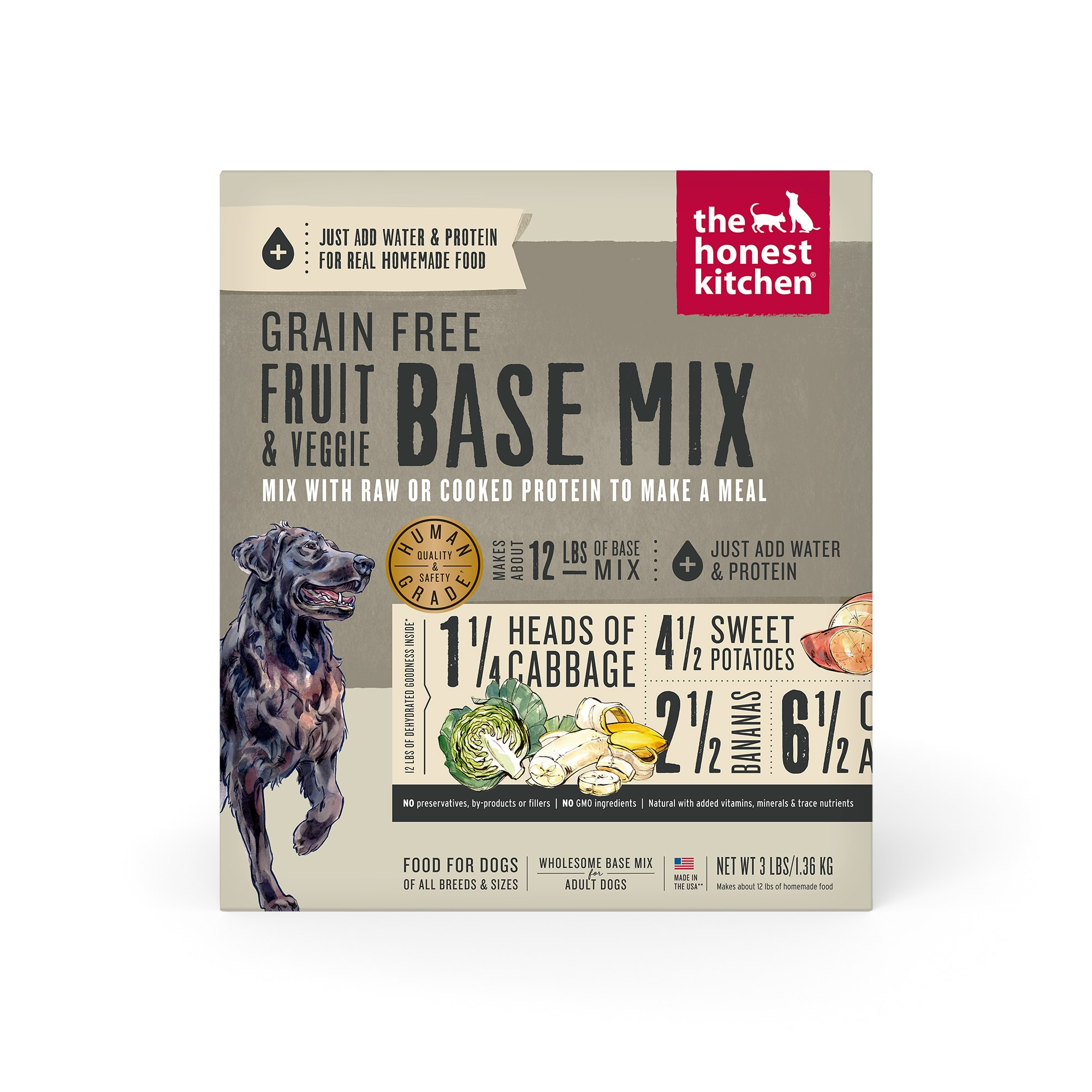 The Honest Kitchen Dehydrated Grain Free Fruit & Veggie Base Mix Recipe Dry Dog Food, 3 lbs.