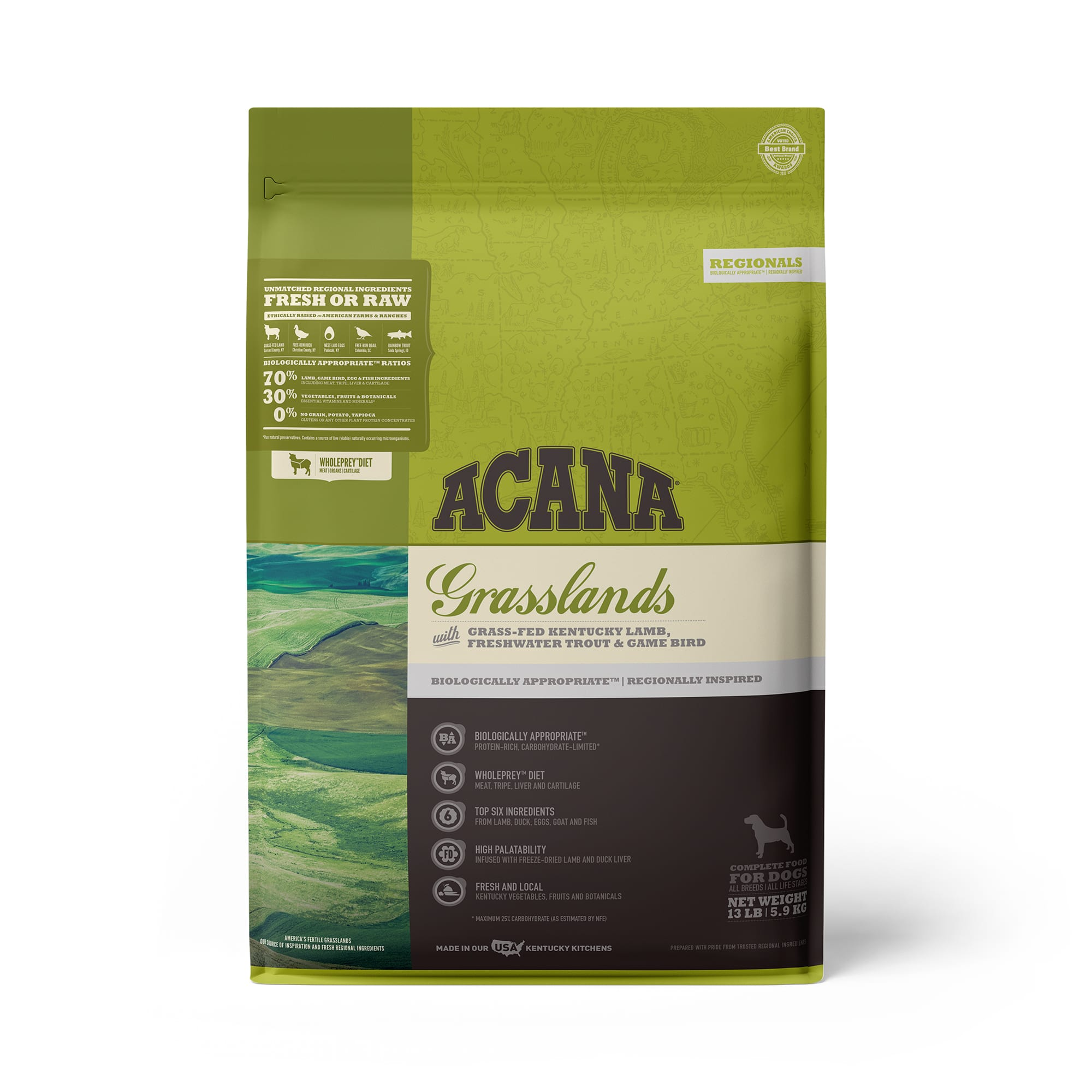 ACANA Grasslands Grain Free High Protein Freeze-Dried Coated Lamb Duck Trout and Quail Dry Dog Food, 13 lbs.