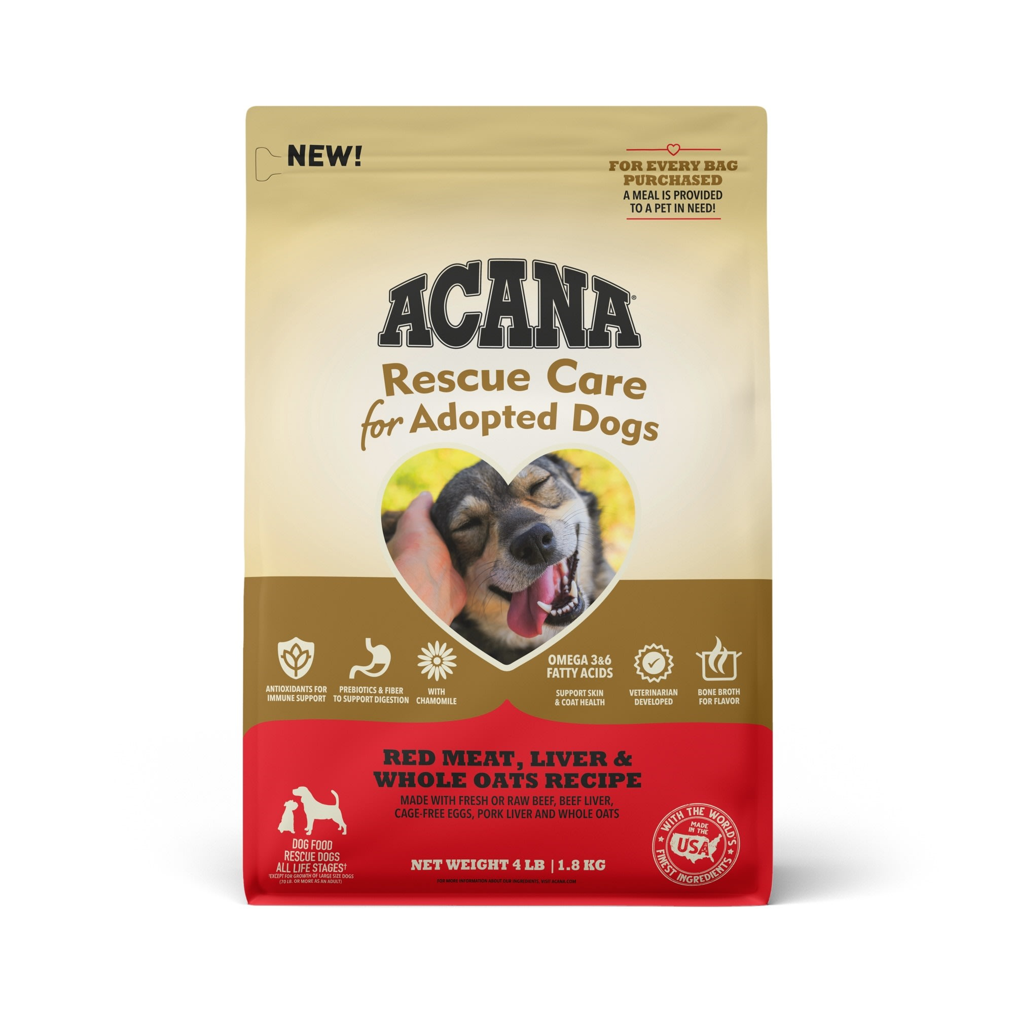 ACANA Rescue Care For Adopted Dogs Red Meat, Liver & Whole Oats Recipe Premium Dry Food, 4 lbs.