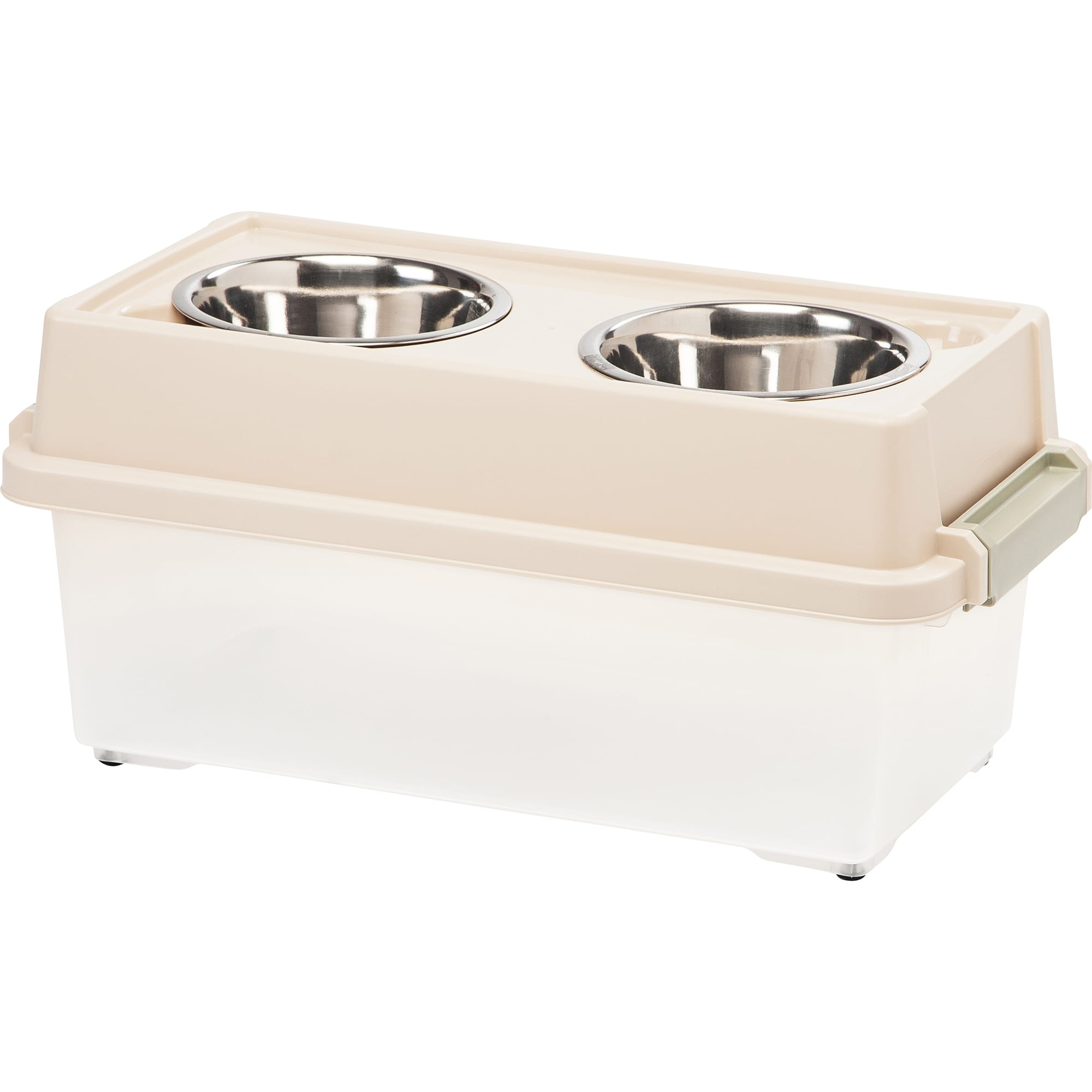 Iris Almond Elevated Double Diner with Airtight Food Storage Container for Dogs
