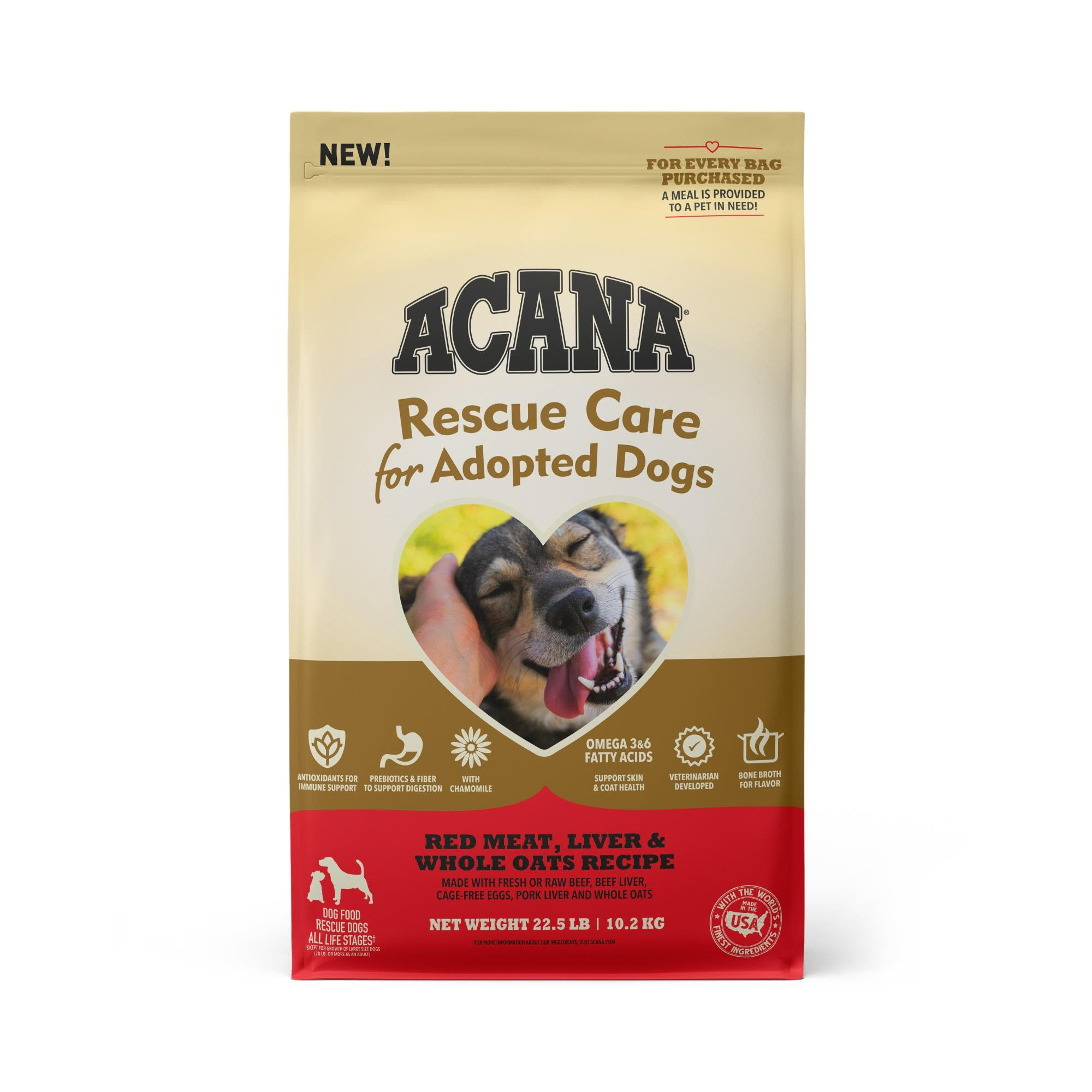 ACANA Rescue Care For Adopted Dogs Red Meat, Liver & Whole Oats Recipe Premium Dry Food, 22.5 lbs.