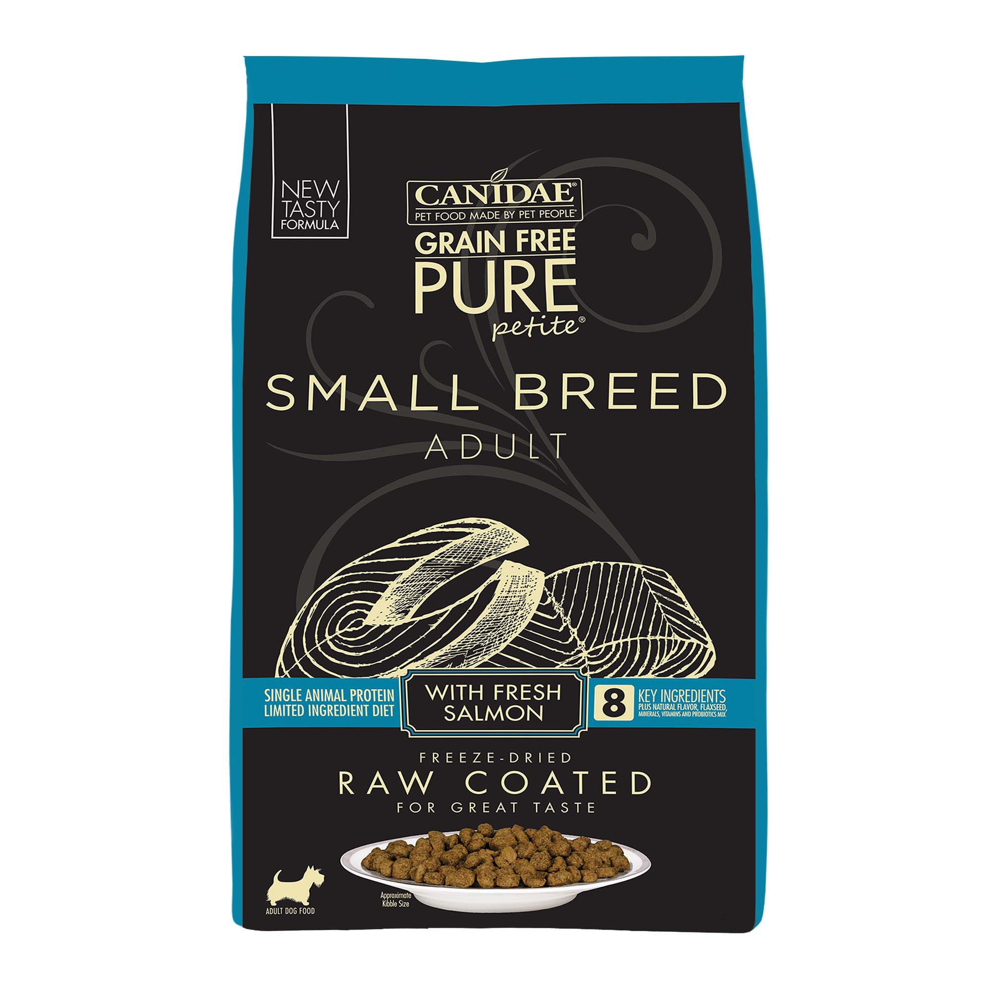 Canidae PURE Grain Free Petite Small Breed Limited Ingredient Diet Raw Coated with Fresh Salmon Dry Dog Food, 10 lbs.