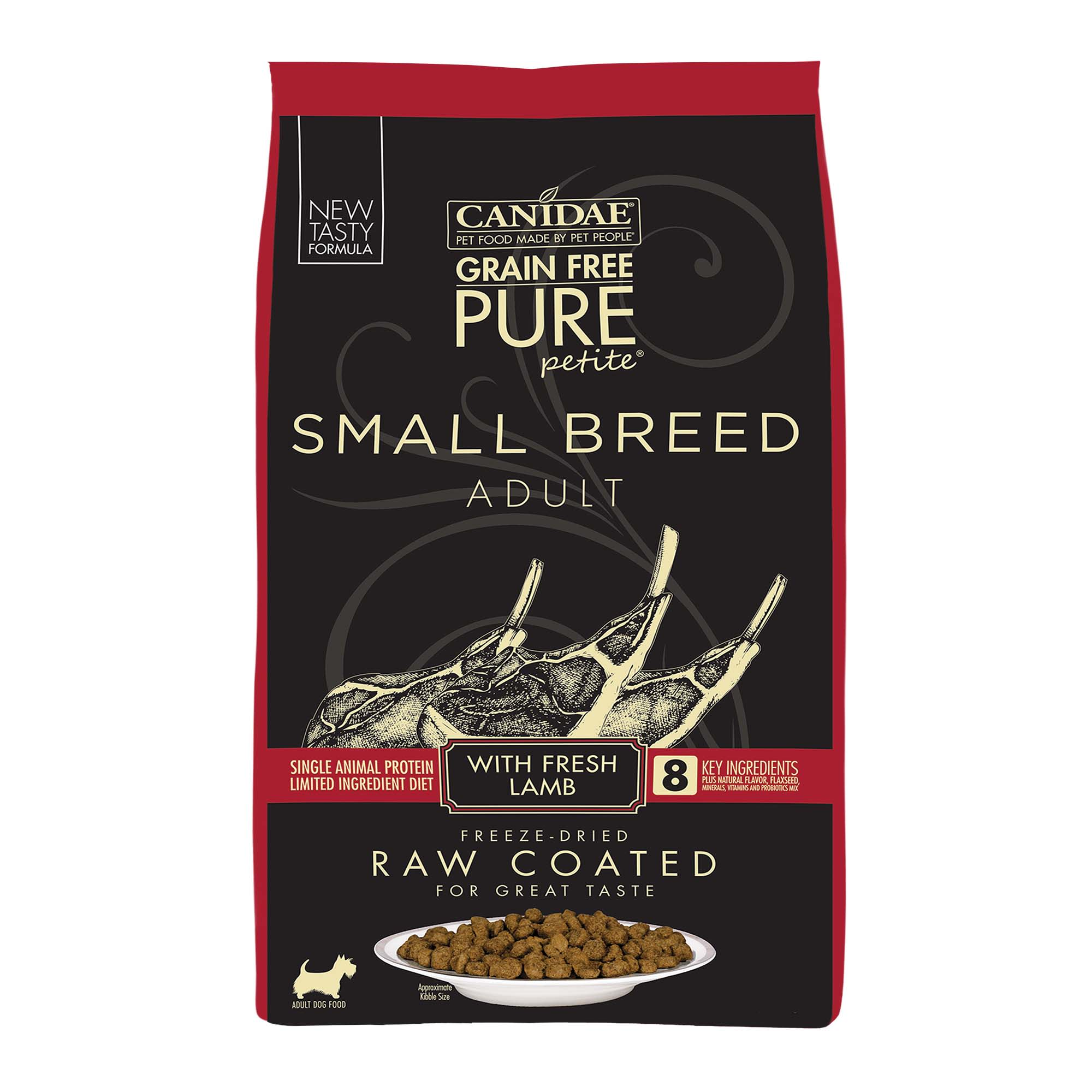 Canidae PURE Grain Free Petite Small Breed Limited Ingredient Diet with Fresh Lamb Freeze Dried Raw Coated Dry Dog Food, 4 lbs.