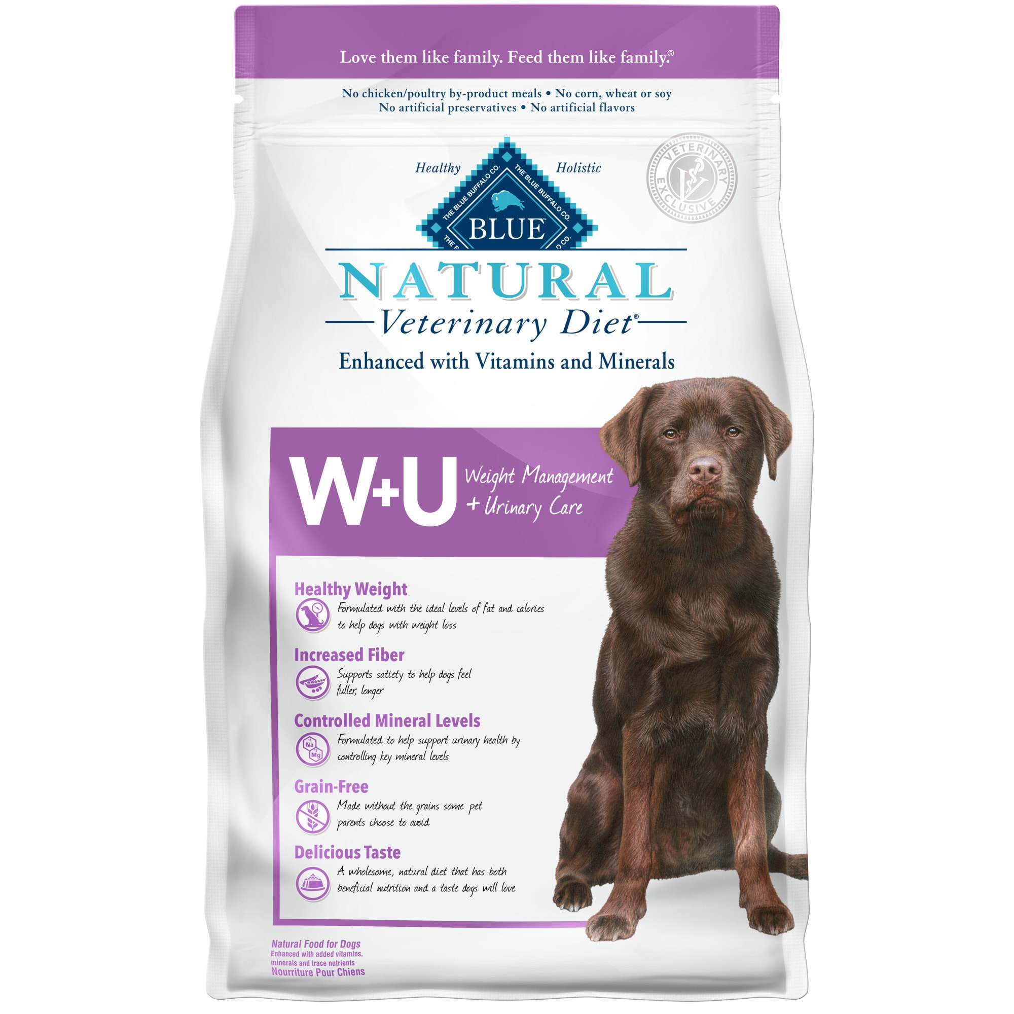 Blue Buffalo Natural Veterinary Diet W+U Weight Management + Urinary Care Chicken Dry Dog Food, 6 lbs.